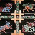 西本願寺、唐門 獅子の浮き彫り(左扉)